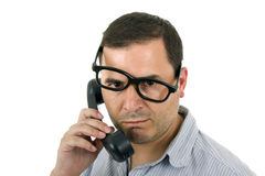 Ung man med en telefon Arkivbilder