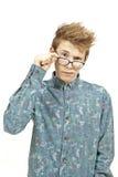 Ung man med exponeringsglas Arkivfoton
