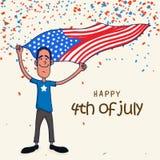 Ung man med flaggan för amerikansk självständighetsdagenberöm Arkivfoton