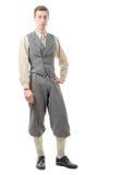 Ung man med kläder i 20-talstil Arkivfoto