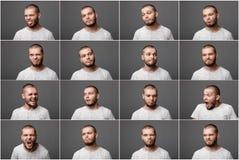 Ung man med olika negativa sinnesrörelser arkivfoton