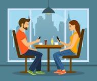 Ung man och kvinna på ett datum i kafé med smartphones vektor illustrationer