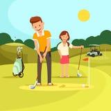 Ung man och kvinna som spelar golf på grönt fält stock illustrationer