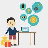 Ung man som använder bärbara datorn för att finna produkten royaltyfri illustrationer