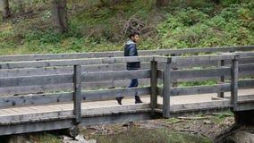 Ung man som fotvandrar i frodigt grönt berglandskap arkivfilmer