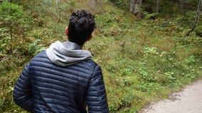 Ung man som fotvandrar i frodigt grönt berglandskap lager videofilmer