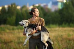 Ung man som går med herdehunden på sommarfältet arkivfoto
