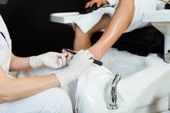 Ung man som gör pedikyr i salong pärlor för blå för begrepp för bakgrundsskönhet blir grund naturliga over för behållare kosmetis Royaltyfri Foto