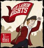 Ung man som kallar för att marschera i arbetares dag, vektorillustration Arkivbild