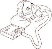 Ung man som ligger på säng med att sova Apnea och CPAP stock illustrationer