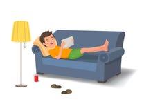 Ung man som ligger på soffan med en minnestavla stock illustrationer