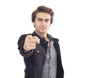 Ung man som pekar på dig Arkivfoto