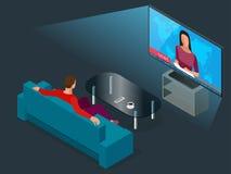 Ung man som placeras på den hållande ögonen på tv:n för soffa, ändrande kanaler Isometrisk illustration för plan vektor 3d Arkivbilder