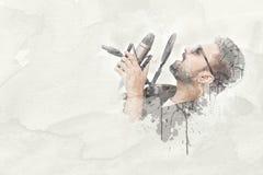 Ung man som sjunger en sång Arkivfoto