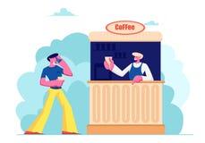 Ung man som talar vid mobiltelefonköpandekaffe i bås på gatan Sommarkafé med drinkar, utomhus- kafeteria, fritid vektor illustrationer