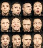 Ung man, uppsättning av emotionella stående royaltyfri fotografi