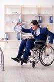 Ung manlig anst?lld i rullstolarbete i kontoret royaltyfri fotografi