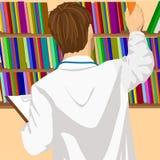 Ung manlig doktor eller student som i regeringsställning tar boken från hylla eller arkiv stock illustrationer