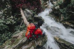 Ung manlig fotvandrare som beundrar vattenfallet royaltyfri fotografi