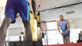 Ung manlig görande kabelövergångsövning i idrottshallen, bröstkorggenomkörare, lyfta för vikt arkivfilmer