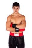 Ung manlig kickboxer Arkivbilder