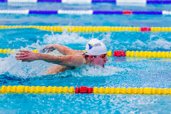 Ung manlig slaglängd för fjäril för simmareidrottsman nensimning i pöl Arkivbild