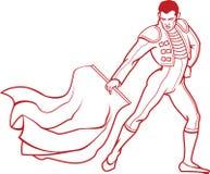 Ung matador i traditionella kläder för bullfighting med den röda trasan royaltyfri illustrationer