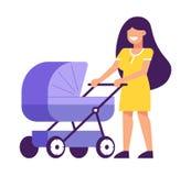 Ung moder med le f?r barnvagn vektor illustrationer