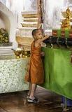Ung munk i den gamla staden Ayutthaya, Thailand royaltyfri bild