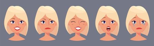 Ung nätt blond kvinna, gulliga framsidor med olika sinnesrörelser Härlig flicka för tecknad film royaltyfri illustrationer