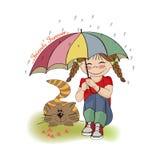 Ung nätt flicka och henne katt, kamratskapkort Royaltyfria Bilder