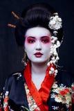 Ung nätt geisha i kimono med sakura och garnering royaltyfria foton