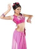 Ung nätt kvinna i indisk klänning arkivbilder