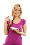 Ung nätt kvinna som dricker kaffe Royaltyfria Bilder