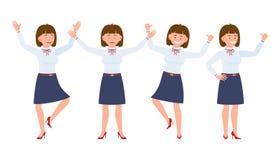 Ung, nätt lycklig kontorskvinna som hoppar, stående händer upp och att ha gyckel vektor illustrationer