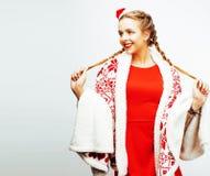Ung nätt lycklig le blond kvinna på jul i beträffande santas Royaltyfria Bilder