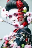Ung n?tt geisha i svart kimono bland sakura, asiatisk ethnocloseup fotografering för bildbyråer