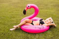 Ung och sexig flicka som har roligt och skrattar och har gyckel på gräset nära pölen på en uppblåsbar rosa flamingo i en badning royaltyfria foton