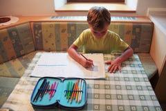 Ung pojke som hemma studerar Arkivbild