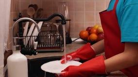 Ung pojke som tvättar en platta på diskhon stock video