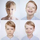 Ung pojke som uttrycker olika sinnesrörelser fotografering för bildbyråer
