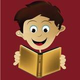 Ung pojkeläsning Fotografering för Bildbyråer
