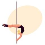 Ung poldanskvinna i den svarta bodyen som gör växande position Fotografering för Bildbyråer