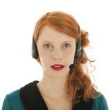 Ung röd haired kvinna med huvuduppsättningen Fotografering för Bildbyråer