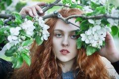 Ung rödhårig manflicka utomhus royaltyfri fotografi