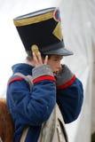 Ung reenactorstående Historisk reenactment för Borodino strid i Ryssland royaltyfri fotografi