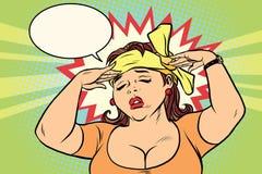 Ung retro kvinna med en huvudvärk Royaltyfria Bilder