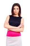 Ung säker kvinna i klänning arkivfoton