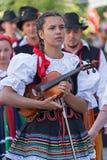 Ung sångareflicka på fiolen från Polen i traditionell dräkt arkivbilder