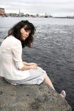 Ung SAD kvinna Fotografering för Bildbyråer